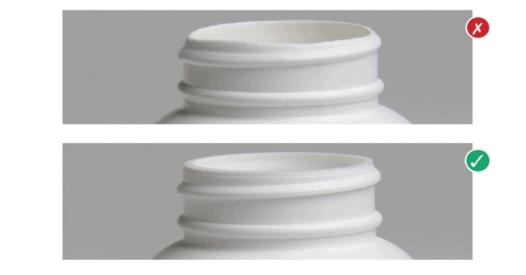 Example of uneven sealing surface and proper sealing surface for a plastic bottle