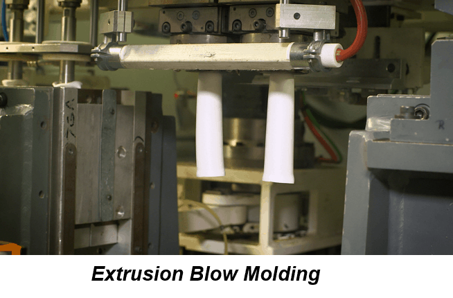 Compressed air is forced through a white plastic resin to create a cylindrical parison as part of the extrusion process.